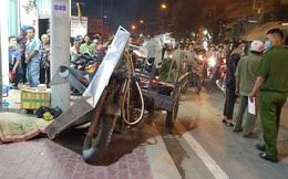 Xe ba gác tông người đi bộ tử vong rồi húc đổ biển báo giao thông
