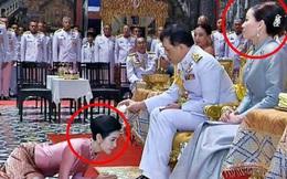 Hoàng hậu Suthida gây chú ý với biểu cảm khác lạ khi Hoàng quý phi Thái Lan quỳ rạp dưới chân Quốc vương