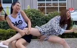 Ngọc Trinh có hành động nhạy cảm khi diễn cùng Quỳnh Thư và Đỗ Long