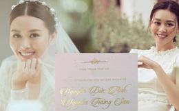 Hé lộ thiệp và ảnh cưới đẹp lung linh của Á hậu Tường San, chú rể vẫn quyết giấu mặt đến phút chót?