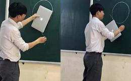 Thầy giáo 'nghèo quá' không có tiền mua thước, đành lấy Macbook ra kẻ tạm