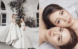 Bạn gái Công Lý mặc váy cưới, đọ sắc cùng á hậu Thụy Vân