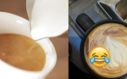 """Tạo hình trái tim trên cốc cafe nhưng không thành, anh chàng """"lỡ"""" làm ra hình thù khiến ai nhìn vào cũng tủm tỉm"""