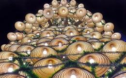 """Cây thông Noel """"độc nhất"""" xứ Nghệ cao hơn 21m, được kết từ 1000 nón lá cùng bóng đèn sáng rực"""