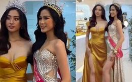 2 nàng hậu chân dài nhất nhì Vbiz Đỗ Thị Hà - Lương Thuỳ Linh chung khung hình, tân Hoa hậu lộ body gầy gò sau 2 tuần