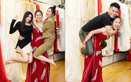 Lê Phương mặc áo dài, bế bổng Trương Quỳnh Anh và Kha Ly