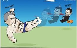 Biếm hoa 24h: HLV Ancelotti đá bay đồng nghiệp Mikel Arteta