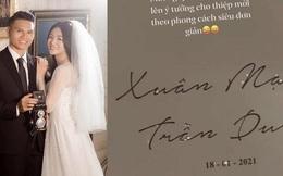 Cưới sau Tiến Dũng 1 tuần, thiệp cưới của Xuân Mạnh mang phong cách đối lập