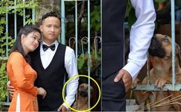 """Đang diễn sâu, cô dâu bất ngờ phát hiện """"hàng xóm"""" có hành động kém duyên với chú rể trong ảnh cưới"""
