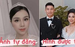 So ảnh cưới của bà xã Tư Dũng khi tự đăng và được tag, liệu có khác nhau không nhỉ?