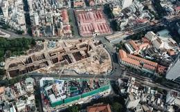 Flycam cận cảnh nhà ga ngầm trung tâm Bến Thành, công trình phức tạp nhất vì kết nối 4 tuyến Metro ở Sài Gòn