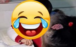 Ngồi ngay ngắn nghe chị giảng bài nhưng biểu cảm khuôn mặt của cậu bé mới khiến mọi người ôm bụng cười