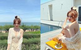 Hari Won diện áo tắm lưới, khoe sắc vóc gợi cảm ở tuổi 35