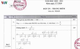 Thi lớp 10 tại Hà Nội: Chi tiết đáp án, thang điểm môn Toán của Sở GD-ĐT