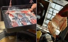 """Một nhà hàng lẩu phục vụ miếng thịt """"tàng hình"""" gây xôn xao MXH: Khách vừa ăn vừa… nín thở vì sợ gió thổi bay mất!"""