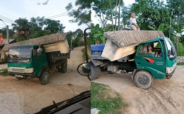 """Hình ảnh xe tải """"cõng"""" cổng làng ở Hà Tĩnh gây xôn xao, thái độ của tài xế mới khó hiểu"""