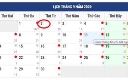 Lịch nghỉ Lễ dịp Quốc khánh 2/9/2020