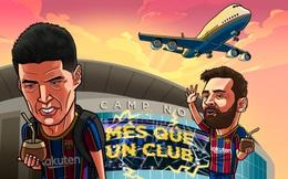 Biếm họa 24h: Lionel Messi ngậm ngùi tiễn Luis Suarez rời Barca