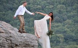 Muốn tạo khoảnh khắc đặc biệt, cặp đôi chụp ảnh cô dâu chới với như sắp rơi từ vách núi cao hơn 500m khiến dân mạng thót tim