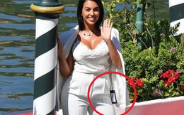 Tốn công diện áo 48 triệu cực sang chảnh tới dự LHP Venice, bạn gái của Ronaldo lại quên mất cắt mác
