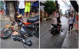 """Nam thanh niên đâm xe vào cột điện """"mọc"""" giữa đường, những bức ảnh ghi tại hiện trường gây tranh cãi"""