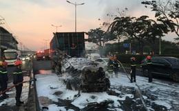 Xe container bốc cháy ngùn ngụt ở cửa ngõ Sài Gòn