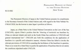 Nhật Bản gửi công hàm lên LHQ phản đối yêu sách của Trung Quốc ở Biển Đông
