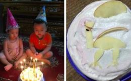 Chú tốt bụng làm bánh sinh nhật tặng cháu nhưng lại có gì đó 'sai sai' khiến 2 đứa trẻ không nặn nổi nụ cười, mặt căng thẳng khi thổi nến!