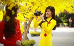 """[Ảnh] Thiếu nữ Sài Gòn xinh đẹp xúng xính áo dài check-in """"sống ảo"""" ở con đường hoa mai"""