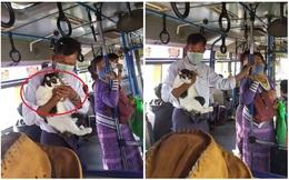 Người đàn ông ôm chú mèo trên tay và chiếc khẩu trang khiến cả xe buýt phải ngoái nhìn