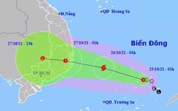 Bão giật cấp 10 hướng vào từ Bình Định - Bình Thuận, miền Trung mưa rất to