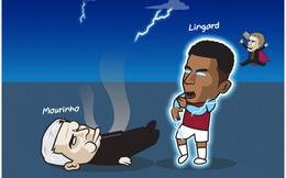 """Biếm họa 24h: Lingard """"đánh ngã"""" HLV Mourinho, Lukaku thổi bay Ibrahimovic"""