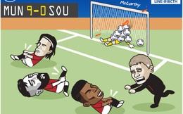 """Biếm họa 24h: Cầu thủ MU """"sút mỏi chân"""" trước Southampton"""