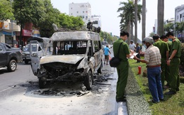 Xe chở quan tài đột ngột bốc cháy ngay giữa đường phố Đà Nẵng