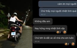 Thất thểu dắt xe máy hết xăng trên đường tối, cô gái được 3 người đàn ông giúp theo cách không ngờ