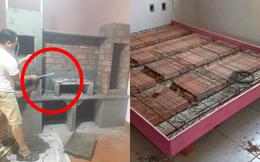 Tủ giường đặc biệt bậc nhất: Sợ mối mọt nên xây bằng bê tông, nhìn thôi đã thấy chắc chắn!