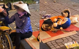 Bức ảnh người phụ nữ nhặt ve chai và nhân vật đặc biệt đang ngủ trên vỉa hè gây chú ý