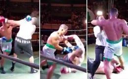 Võ sĩ boxing Nam Mỹ có hành xử gây phẫn nộ, tiền bối đo sàn vẫn lao đến đạp thẳng vào đầu