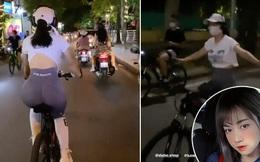 Lê Bống lại gặp biến khi đạp xe giữa phố đông nhưng thả cả 2 tay còn đeo tai nghe nhạc to sụ
