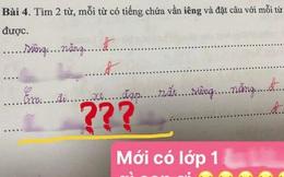 Bài tập Tiếng Việt lớp 1 đặt câu có vần 'iêng', cô giáo đọc xong hạn hán lời, chịu thua với độ điệu của học trò