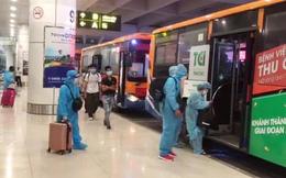Hình ảnh xe buýt đưa đón công dân tại các khu cách ly