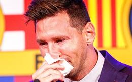 Messi khóc nức nở ngay khi bước vào buổi họp báo chia tay Barcelona