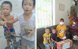 2 bé trai đạp xe ra đường chơi mùa dịch, không bị phạt còn được công an xã tới tận nhà tặng quà