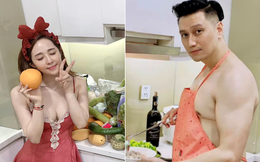 Việt Anh cởi trần nấu ăn, làm rộ chuyện sống chung với Quỳnh Nga?
