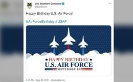 Xôn xao bức ảnh chúc mừng ngày thành lập Không quân Mỹ có hình tiêm kích Sukhoi Nga