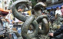 Đôi rắn khổng lồ được bày bán giữa đường ở Hà Nội