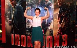 Anna Trương và Hoàng Hải tạo dáng tinh nghịch bên Iron Man