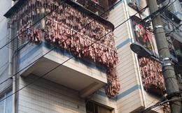 Thịt lợn xông khói trưng bày trên ban công ở Trung Quốc
