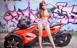 Hot girl Mai Thỏ khoe sắc đỏ cùng xe