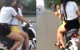 Clip nữ sinh VN chân dài đánh võng trên đường quốc lộ